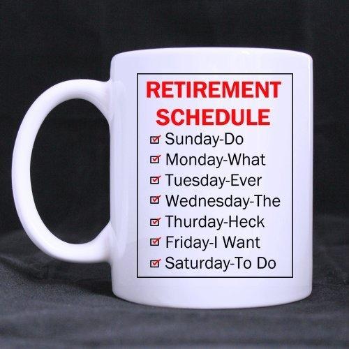 Grappige Mok Pensioen Schema Koffie Thee Mok Beker, 11 Ounces
