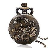 Nfudishpu Herren Taschenuhr im antiken Stil China Zodiac Dragon Lucky Analog Quartz Taschenuhr Geschenke