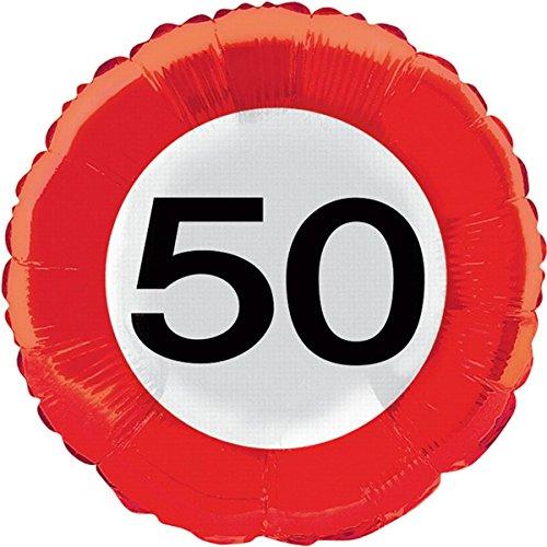 Folieballon, ZAHL 50, wegverkeersinformatie, helium vulling, houclip en band, voor verjaardag, folies ballon, party, helium, decoratie, ballongas, motto 50 vijftig jaar felicitatie