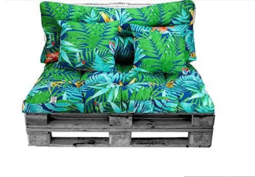 Conjunto de Cojines Palet (Asiento + Respaldo + 2 Cojines Decorativos) para palets. Cojín de Palets y de sillones de 2 plazas. Ideal para Interior y Exterior (Flores y Hojas)