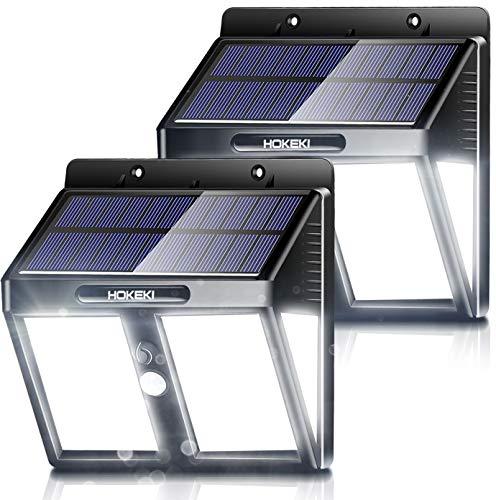 Solar Wall Light, 2pack,HOKEKI Motion Sensor Light, LED Outdoor Lighting Wireless Wall Light, 3 Adjustable Brightness, Waterproof Design, Easy-to-Install Security Lights for Front Door, Garage, Deck