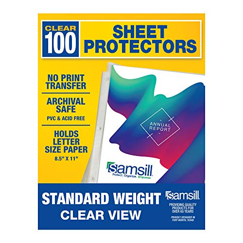 Samsill 100 Clear Standard Weight Sheet Protectors, Reinforced 3 Hole Design Plastic Page Protectors, Archival Safe, Top Load for 8.5 x 11 Inch Sheets, Box of 100