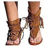 PerhapsRio Tassel Sandals for Women,Retro Bohemian Gladiator Fringe Casual Sandals Flat Clip Toe Ankle Boots Beach Shoes T-Strap Roman Open-Toe Sandals (Brown, US:9.5-10)