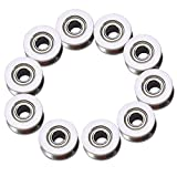 V Groove Bearing, 10 PCS V624ZZ Metal V Groove Ball Bearing Wheel with Straight Roller Bearing Pulley for Rail Track Linear Motion System (4×13×6mm)