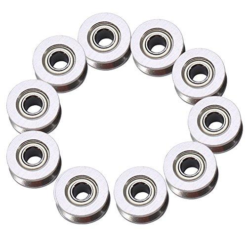 Rodamiento de ranura en V - 10 piezas V624ZZ Polea de rodamiento de bolas con ranura en V para sistema de movimiento lineal de riel 4 * 13 * 6 mm