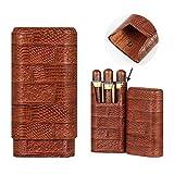 GALINER Cigar Case, Travel Cedar Wood lined Cigar Holder Box, Max 60 Gauge, removable divider (Brown)