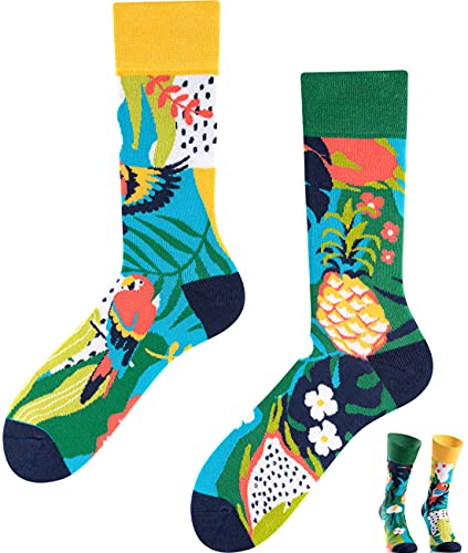 TODO Colours Lustige Socken mit Motiv - Mehrfarbige, Bunte, Verrückte für Herren und Damen (43-46, Ananas – Papagei)