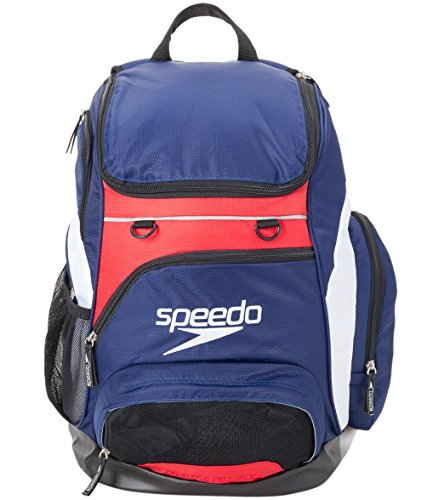 Speedo Teamster 35L Mochila, Unisex Adulto, Azul Marino/Rojo