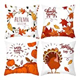 Thanksgiving Pillow Covers 48 x 18 Inches Set of 4 fundas de almohada Turkey Pumpkin Decorative Cushion Cover for Sofá Sofá