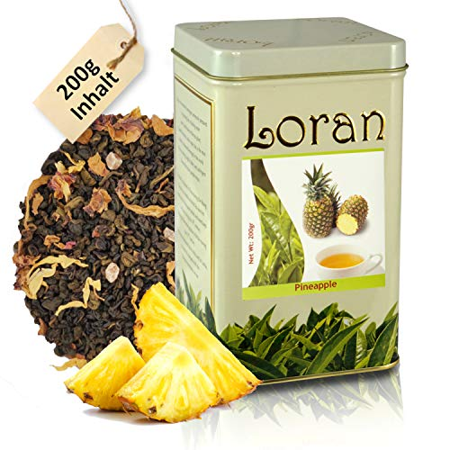 LORAN - Grüner Tee mit Ananas 200g, Ananastee, Premium Qualität, Ceylon Tee grün aus Sri Lanka, lose in Dose, Fruchtstückchen, natürliches Aroma der tropischen Frucht Ananas und Sonnenblumenblüten