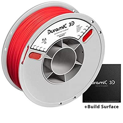 DURAMIC 3D Premium PLA Plus Printer Filament 1.75mm Red, 3D Printing Filament with Build Surface 200 x 200mm, 1kg Spool(2.2lbs), Dimensional Accuracy +/- 0.05 mm