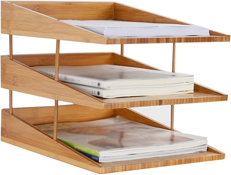 Bookcase,Bamboo Desktop Bookshelf Shelf Desktop Organizer Storage Rack File Shelf,Beige,25  34cm26