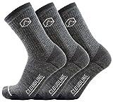 CloudLine Merino Wool Crew Hiking & Trekking Socks - Medium Cushion - Large Granite - 3 Pack