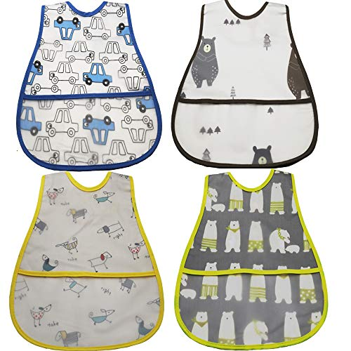 Baby Waterproof Bib with Crumb Catcher Pocket, Comfortable Soft Adjustable Snaps Feeding Bibs For Infants and Toddlers