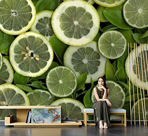 HUATULAI muurschildering 3D achtergrond afbeelding citroen fruit koude drank winkel woonkamer tv achtergrond muurschildering vlies behang wanddecoratie 350 * 245cm/W*h