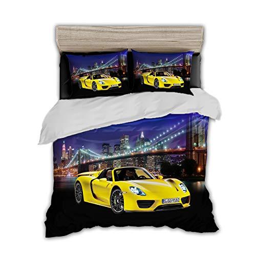 Rennwagen Rennauto 3D Print Betten Set Racing Car Bettwäsche Set Microfaser Himmlische Qualität Modern Bettbezug mit 1 Kissenbezug 2 teilig 135x200 cm + 80x80 cm Jungen Kinder