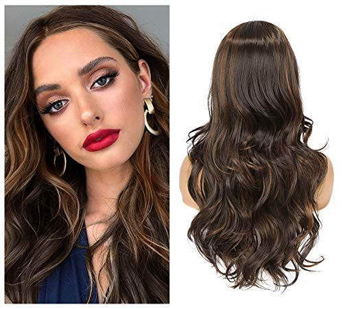Lady Hanne Curly Wave Wavy Wigs Highlights Wig Synthetic Wigs Middle Part Brown Highlights Hair Wigs Natural Looking Heat Resistant Fiber Daily Cosplay Party for Women