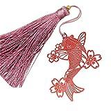 GuDeKe タッセル しおり 古典赤色 桜 錦鯉 ブックマーク 切り紙のデザイン 鯉 金属 薄い しおり 房付き プレゼント
