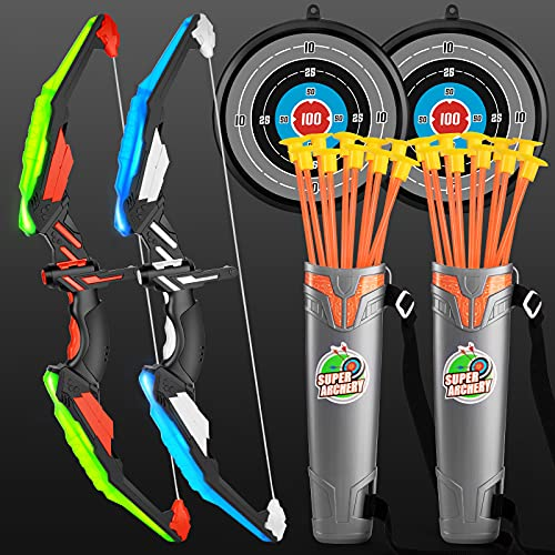 TMEI 2 Pack Set Kids Archery Bow Arrow Toy Set Outdoor Hunting Play with 2 Bow 20 Suction Cup Arrows 2Target & Quiver,LED Light Up Function Toy,for...