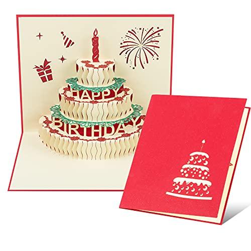 Habett Biglietti Augurali Compleanno 3D Pop-up Regalo di Compleanno per i Tuoi Parenti, Amici e Amanti, Biglietto di Auguri con Bellissimi Ritagli di Carta Busta Inclusa Happy Birthday