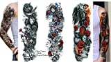 3 Sheet VOLLEN ARM TATTOO Oberarm Tattoo Totenkopf Rosen Wolf Länge 45cm