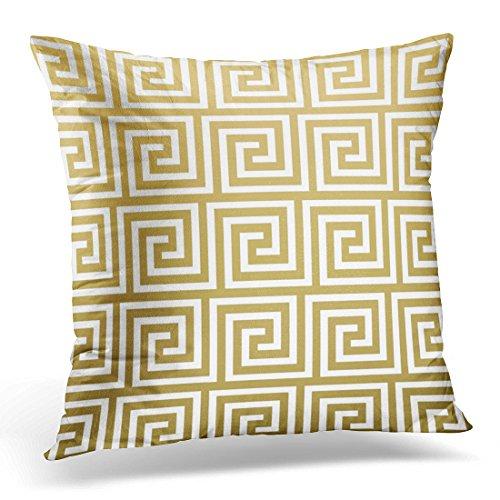 TORASS Funda de almohada retro cuadrados elegantes oro y blanco griego clave contemporánea decorativa funda de almohada cuadrada de 50 x 50 cm