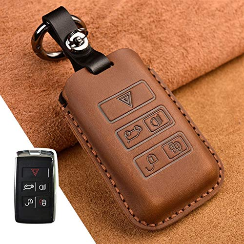 Roki-X Car Key Case Suitable For Land Rover Range Rover Sport Evoque Velar Discovery Smart Auto Keychain Key Ring Cover (Color Name : Brown)