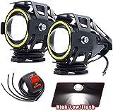Faros Auxiliares de Moto U7 Faros Delanteros para Motocicleta Anillo de Halo Blanco 3000LM Impermeable IP67 con interruptor