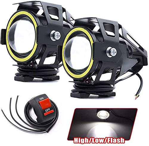 Biqing Motorcycle Headlights LED Spotlights Fog Lights with White Angel Eye Ring U7 CREE High Low Beam Strobe with Toggle Switch 15W 3000LM 6000K Waterproof for Motorbike Bike Bicycle Car Boat Truck
