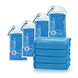 U-pick [4 Packs] Cooling Towel (40'x 12'), Ice Towel, Microfiber Towel, Soft Breathable Chilly Towel for Yoga, Sport, Gym, Workout,Camping, Fitness, Running, Workout & More Activities, Blue
