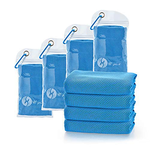 """U-pick 4 Packs Cooling Towel (40""""x 12""""),Ice Towel,Microfiber Towel,Soft Breathable Chilly Towel for Yoga,Sport,Gym,Workout,Camping, Fitness,Running, Workout & More Activities (4pack-Blue)"""