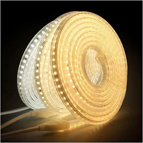 XUNATA 5m 220V Tiras LED, SMD 2835 120LEDs/m, IP67 Impermeable, Escalera de Techo Blancas Tira de LED Cocina Cable Luces LED Blanco calido