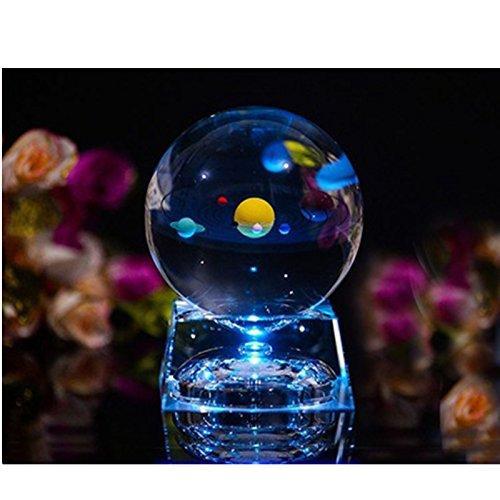 Excerando Solar Sistema Bola Cristal - Bola de cristall con la Base de la lámpara del LED, Claro 80mm Cristal Solar Sistema para decoración del hogar,Decoracion Oficina