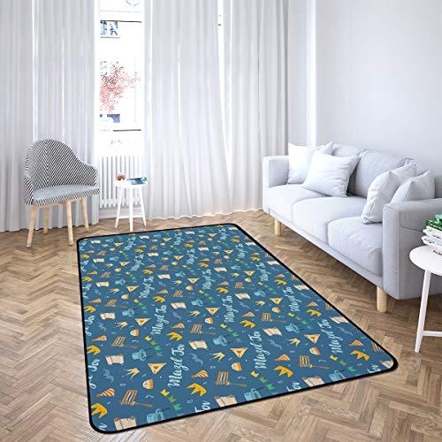 Mazel Tov Jewish Holiday Hand Area Rug Rugs for Living Room Bedroom 2'x3'