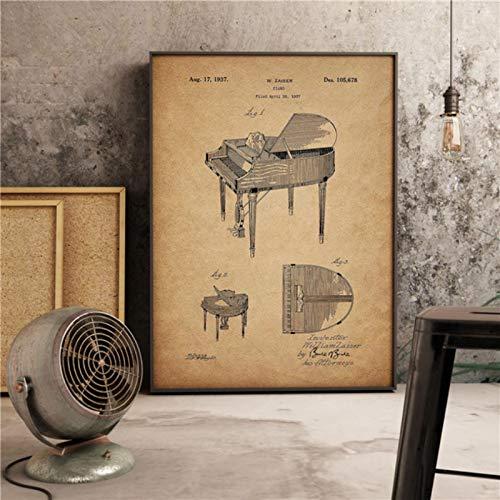 lubenwei Stampe per Pianoforte Vintage Steinway Decor Musica Arte Retro Soggiorno Pittura Decorazioni per la casa Vivaio Camera dei Bambini Poster su Tela 40x60cm Nessuna Cornice (WA-1305)