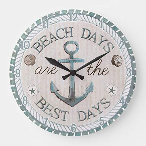 EnjoyHome Nautical Best Days Beach Rustic Decorative Wall Clock Silent Non-Ticking for Kitchen Living Room Bathroom Bedroom Wall Decor