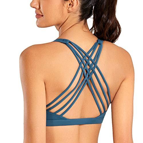 CRZ YOGA Sujetador Deportivo Mujer Sujetador de Yoga Almohadillas Extraíbles Strappy Sports sin Aros Azul de Gasolina M