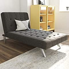 Modern look with squared tufted design and slanted chrome legs Multifunctional piece: split-back adjusts to suit your needs from sitting to lounging to sleeping Combine with matching futon to create a sectional sofa and to have additional seating and...