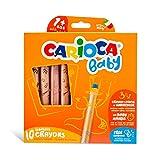 Carioca Baby Crayons 3in1 | Super Lápices de Colores 3 en 1, Lápices de Colores, Acuarelas y Ceras, Todo en 1. Colores Surtidos, 10 Uds.