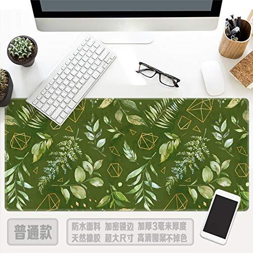 Tapis de souris, Été Simple Vert Feuille Plante Vert Surdimensionné Imperméable Rembourré Tapis De Souris Clavier Pad Meubles Bureau Étudiant Table Tapis Cadeau, 30X78Cm