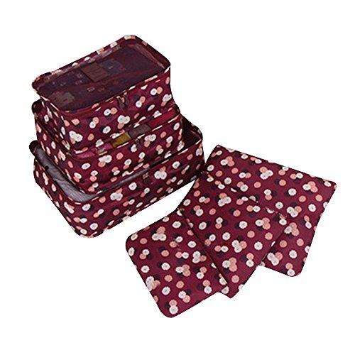 Japace® Set da 6 Pezzi Cubi Di Viaggi Organizzatore per l'organizzazione dei Vestiti all'interno di Trolley e Bagagli---Vino rosso
