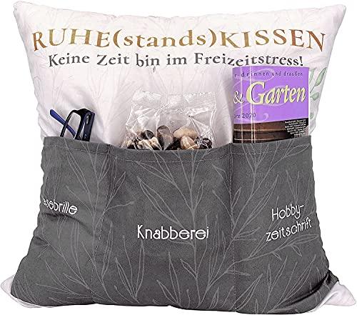 Kamaca Originelles Dekokissen Kissen mit 3 Taschen zum selber Befüllen Größe 43x43 cm tolles Geschenk für EIN gelungenen Sofaabend Filmabend (Ruhestandskissen)