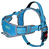 ThinkPet No Pull Harness Breathable Sport Harness - Escape Proof/Quick Fit Reflective Padded Dog Safety Vest with Handle Back/Front Clips, Easy for Medium Large Dog Walking Training, L Light Blue