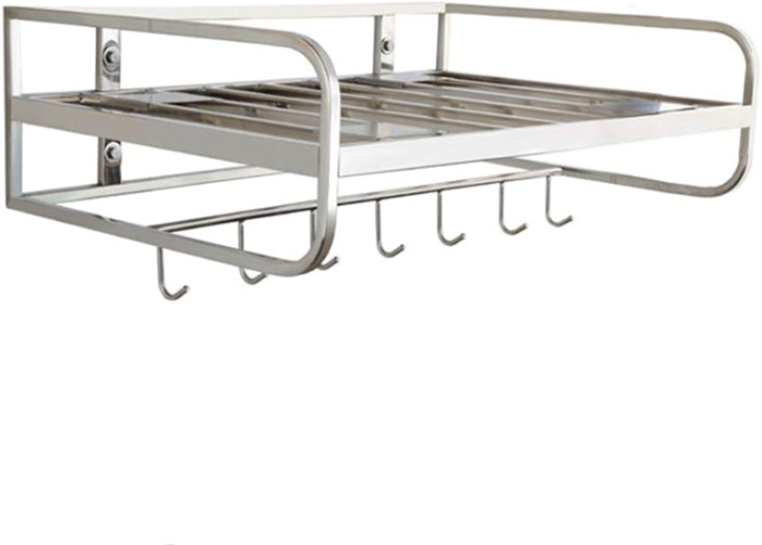 Kitchen Shelf Microwave Shelf Widened Super Load-Bearing Stainless Steel Wall-Mounted Kitchen Accessories with Hook Single Layer 21.6  4.714.9 Inches