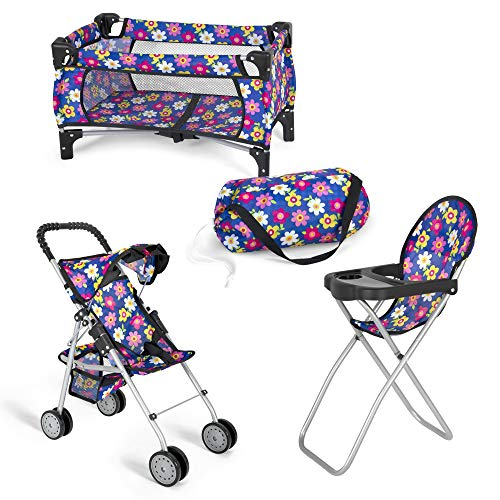 Exquisite Buggy Doll 3 Piece Play Set Baby Doll Accessories - Includes, 1 Pack N Play. 2 Doll Stroller. 3 Doll High Chair. Fits Up to 18'' Doll (Flower)