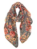 GERINLY Fashion Scarfs for Women Lightweight Flowers Print Long Wrap Shawls (Gray)