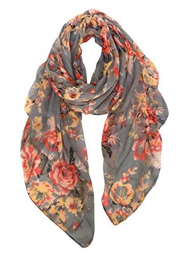 GERINLY Fashion Scarfs for Women Lightweight Flowers Print Long Wrap Shawls (Gray)