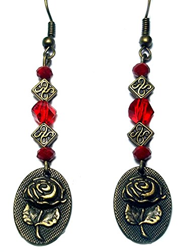 Red and Bronze Rose with Celtic Knots Handmade Beaded Dangle Earrings