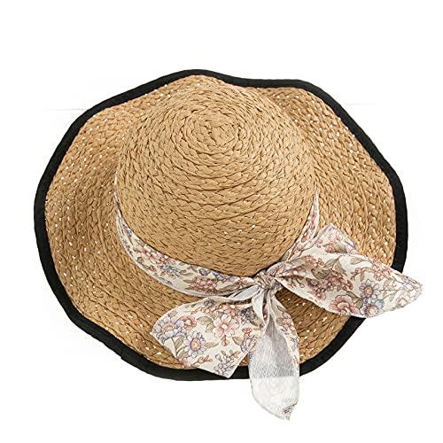 ZXJ Chicas Sombrero De Paja Sombreros De Protección Solar Bowknot De Verano Playa Cap Floppy Ancho De Ancho Sombrero De Pescador para Niños Playa Sunhat (Color : White)