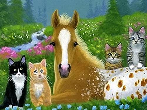 ZMGYA Puzzles Adultos 1000 Piezas Kitten and horse-1500 1000 Piezas para Adultos,Juegos de Habilidad para Toda la Familia,Regalos para Familiares y Amigos
